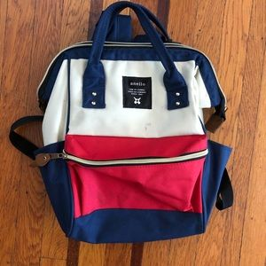 Anello mini backpack red tan blue daypack bag